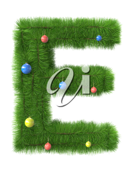 E letter made of christmas tree branches isolated on white background