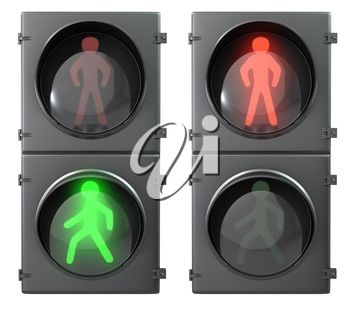 Set of pedestrian light lights with walk and go lights,front view, isolated on white background