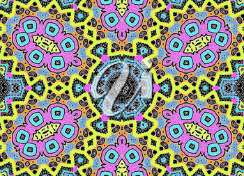 Black background with white graphics and bright colorful concentric pattern