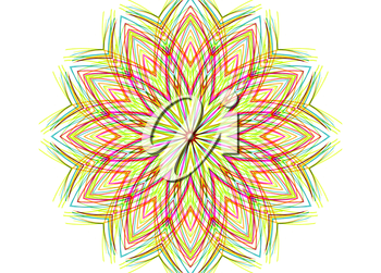 Abstract colorful shape with concentric line pattern on white background