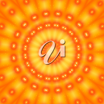 Bright orange background with abstract radial pattern