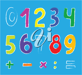 Royalty Free Clipart Image of Numbers and Math Symbols