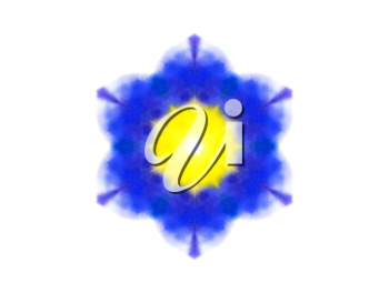 Bright abstract blue and yellow watercolor shape on white background