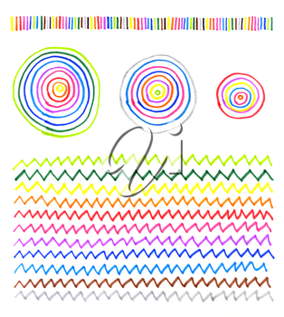 Abstract patterns made by hand on a white paper with colored markers