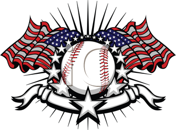 Royalty Free Clipart Image of a Baseball Logo With an American Flag
