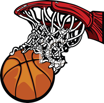Royalty Free Clipart Image of a Basketball and Hoop