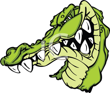 Royalty Free Clipart Image of an Alligator Mascot