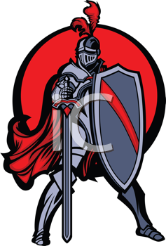 Royalty Free Clipart Image of a Knight Mascot