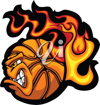 Royalty Free Clipart Image of a Flaming Basketball