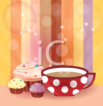 Royalty Free Clipart Image of Cupcakes and Coffee