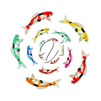 Illustration of colorful origami koi fish swimming in circle
