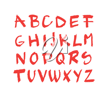 Illustration of hand drawn red chalck alphabet isolated on white background; grunge texture