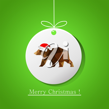 Illustration of modern flat card with origami bear on Christmas ball