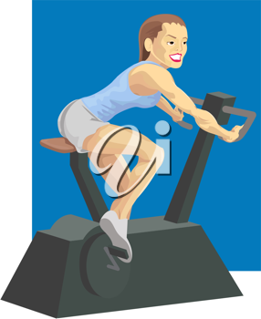 Royalty Free Clipart Image of a Woman on an Exercise Bike