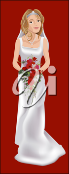 Royalty Free Clipart Image of a Bride on Her Wedding Day