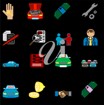 Royalty Free Clipart Image of a Icons Related to Purchasing a Car