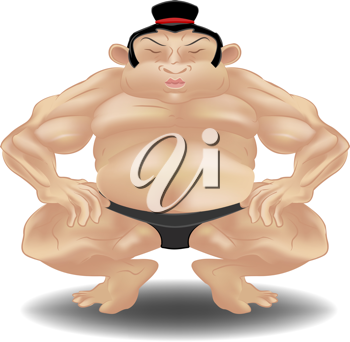 Royalty Free Clipart Image of a Sumo Wrestler