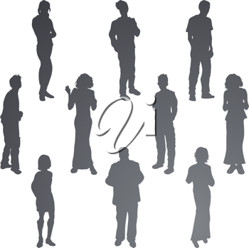 Royalty Free Clipart Image of a Group of Friends