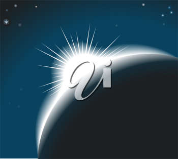 Royalty Free Clipart Image of the Sun Rising Over a Moon