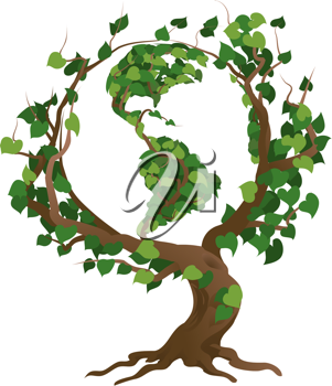 Royalty Free Clipart Image of a Globe in the Tree