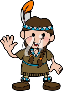 Royalty Free Clipart Image of a Smiling Native Girl