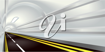 Royalty Free Clipart Image of a Tunnel Road