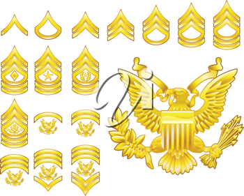 Royalty Free Clipart Image of a Set of Military Army Rank Insignia Icons