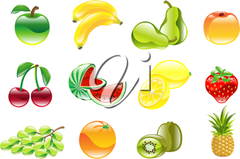 Royalty Free Clipart Image of Fruit Icons