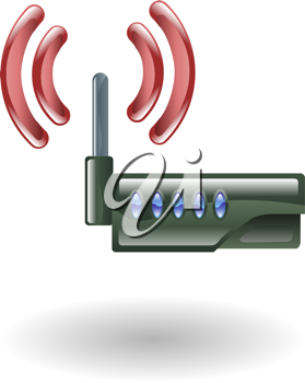 Royalty Free Clipart Image of an Illustration of a Router