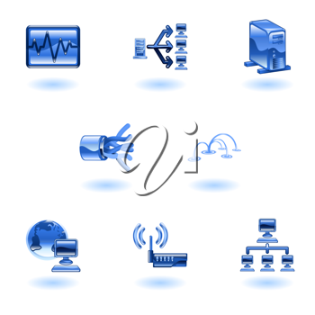 Royalty Free Clipart Image of Computer and Networking Icons