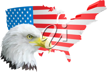 Royalty Free Clipart Image of an American Flag and Eagle Background