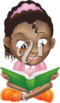Royalty Free Clipart Image of a Girl Reading