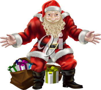 Royalty Free Clipart Image of Father Christmas and Presents