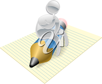 Royalty Free Clipart Image of a Mascot Sitting on a Pencil