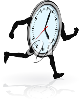 Royalty Free Clipart Image of a Clock Running
