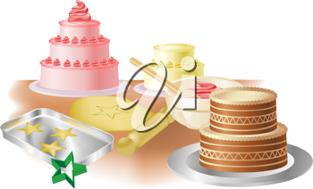 Royalty Free Clipart Image of Cakes, Cookies and Baking Paraphernalia
