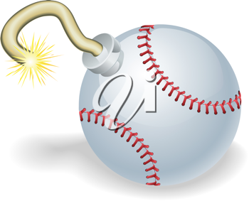 Royalty Free Clipart Image of a Baseball Bomb