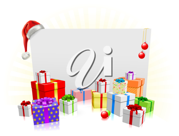 Royalty Free Clipart Image of a Sign and Presents