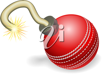Royalty Free Clipart Image of a Cricket Cherry Bomb