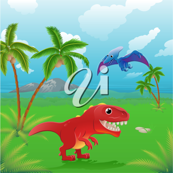 Royalty Free Clipart Image of a Dinosaurs