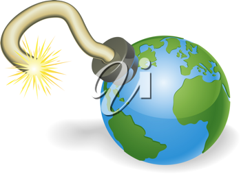 Royalty Free Clipart Image of an Earth Time Bomb