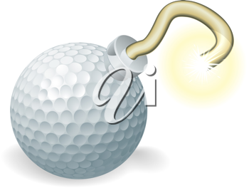 Royalty Free Clipart Image of a Golf Ball Cherry Bomb