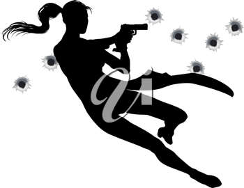 Royalty Free Clipart Image of a Woman Holding Two Guns