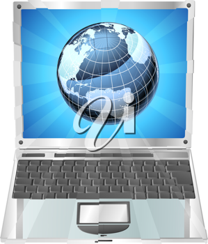 Royalty Free Clipart Image of a Globe on a Laptop Screen