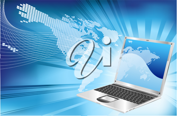 Royalty Free Clipart Image of a Laptop and Map Background