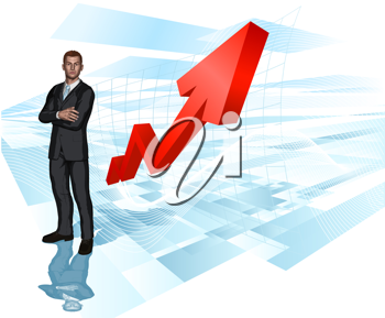 Royalty Free Clipart Image of a Businessman in Front of a Graph