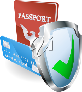 Royalty Free Clipart Image of Personal Documents Being Protected