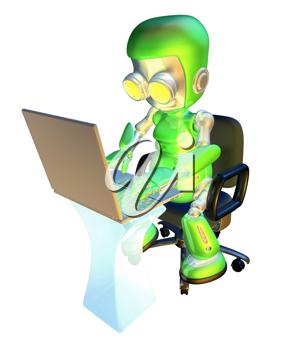 Royalty Free Clipart Image of a Robot Typing on a Computer