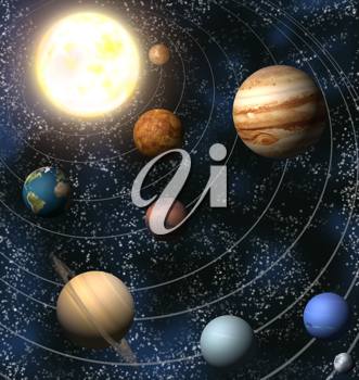 Royalty Free Clipart Image of the Solar System