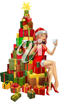 Pretty woman in Santa outfit sitting on stack of gifts